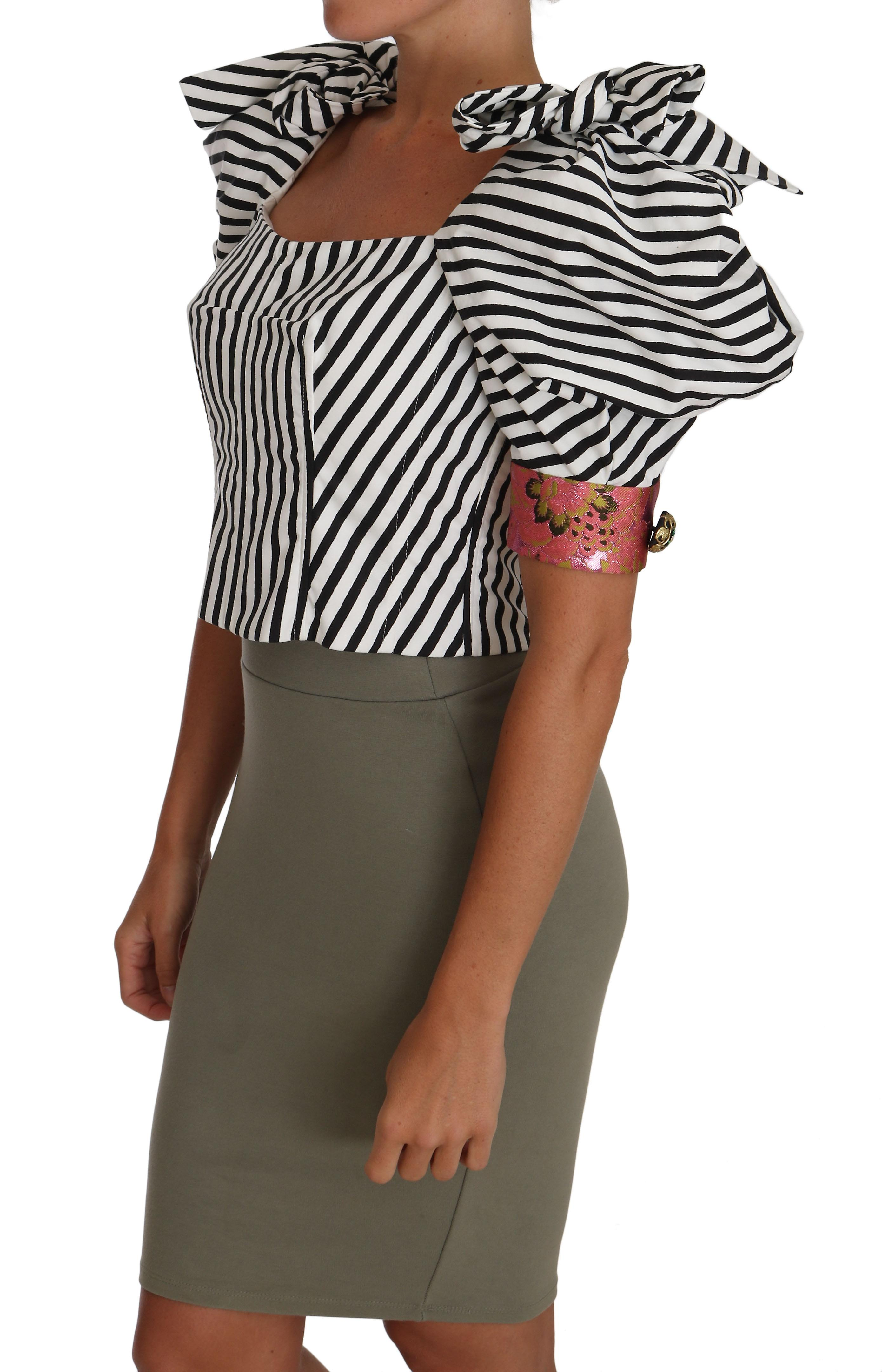 Striped Cropped Top Puff Sleeve Shirts