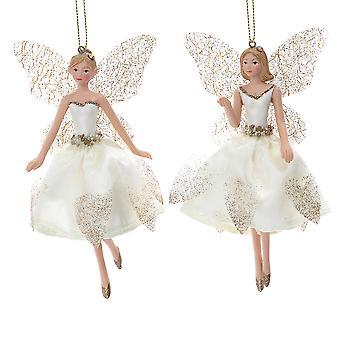 Gisela Graham Cream & gull Fairy hengende bauble dekorasjon