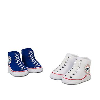 Baby Converse 2 Pairs Booties In Blue- 1 Pair White, 1 Pair Navy- Elasticated -