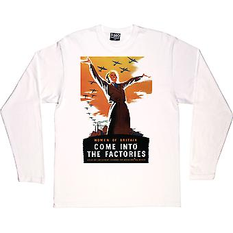 Women of Britain Come Into the Factories White Long-Sleeved T-Shirt