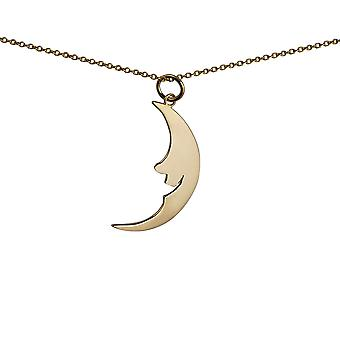9ct Gold 17x28mm smiling Half Moon/Sun Pendant with a 1.1mm wide cable Chain 20 inches