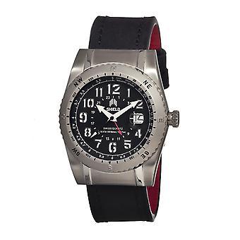 Shield Jarrod Leather-Band Swiss Men's Diver Watch - Silver/Black