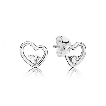 Boucles d'oreilles Pandora Amour 297813CZ - Boucles d'oreilles Coeurs Stylis�s Femme