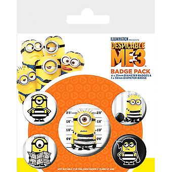 Despicable Me 3 Childrens/Kids Button Badges Pack Of 5