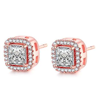 14k rose-gold plated rose-gold halo stud earrings