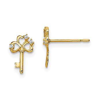14k Madi K CZ Cubic Zirconia Simulerade Diamond Key Post Örhängen Smycken Gåvor för kvinnor
