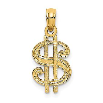14k Gold Dollar Sign Flat Charm Jewelry Gifts for Women - .6 Grams