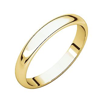 14k Yellow Gold 4mm Light Half Round Band Ring Jewelry Gifts for Women - Ring Size: 4 to 14