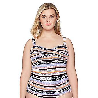 Anne Cole Women's Plus-Size Twist Front Bandeau, Stormy Seas Stripe, Taglia 24W