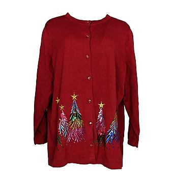Quacker Factory Women's Plus Sweater Embellished Cardigan Red A284434