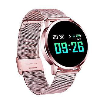 الاشياء المعتمدة® الأصلي Q8 الذكية فرقة اللياقة البدنية الرياضية تعقب النشاط Smartwatch مشاهدة OLED الهاتف الذكي iOS iPhone سامسونج هواوي الوردي المعدنية