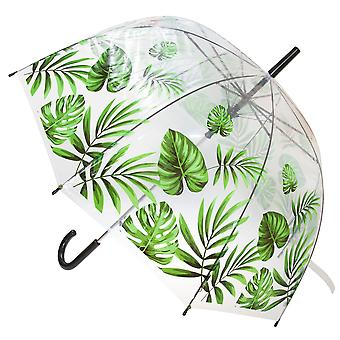 X-Brella Unisex Adults 23in Transparent Tropical Leaf Stick Umbrella