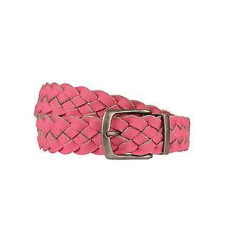 Allegro rosa / grigio cintura da donna reversibile con struttura intrecciata e dettagli suede