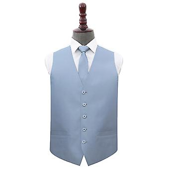 Dusty Blue Plain Shantung Wedding Waistcoat et; Ensemble d'attaches
