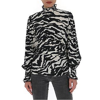 Isabel Marant Ht161920p020i01bk Women's White/black Silk Blouse