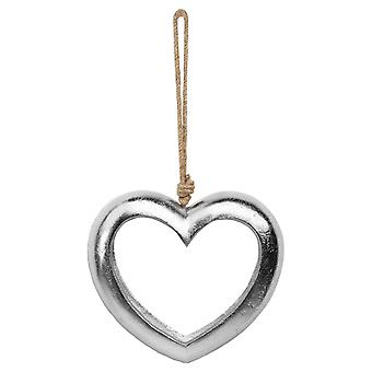 Hill Interiors Casted Silver Cut Out Heart Decoration