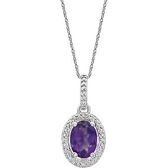 925 Sterling Silver Amethyst Polished Amethyst and .01 Dwt Diamond 18 Inch Necklace Jewelry Gifts for Women