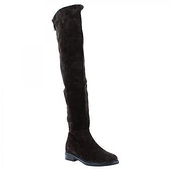 Leonardo Schuhe Frauen's handgemachte Knie hohe Stiefel in dunkelbraun wildleder