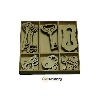 CraftEmotions Chave de caixa de ornamento de madeira e bloqueio 30 pcs - caixa 10,5 x 10,5 cm