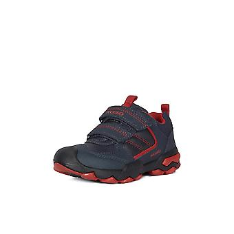 Geox j buller navy and dark red trainers