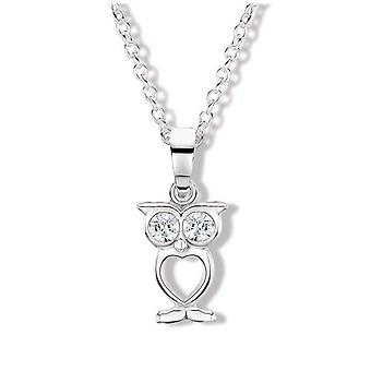 Jo For Girls Sterling Silver Clear CZ Owl Pendant Necklace 14