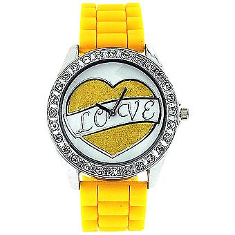 Ashley Love Glitter Heart Diamante Dial Yellow Rubber Strap Ladies Watch
