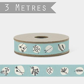 East of India GREY Ribbon with Hedgerow Theme x 3m Craft