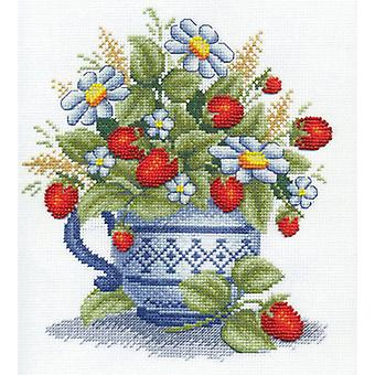 Panna Cross Stitch Kit : Wild Strawberries in Blue Jug