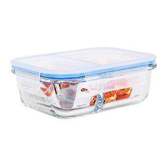 Hermetic Lunch Box Quttin 2 Compartments Rectangular Crystal/1000 cc - 21 x 15,5 x 7 cm