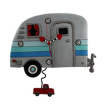 Allen Designs Happy Campers Whimsical Wall Clock with Red Truck Shaped Pendulum