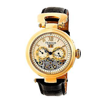 Heritor s Ganzi automatique semi-squelette-bracelet en cuir montre - or/argent