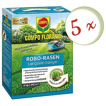 Sparset: 5 x COMPO Floranid® robotic mower long-term fertilizer, 6 kg