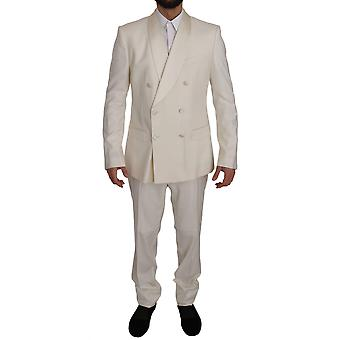 Dolce & Gabbana White Martini Double Breasted Slim Suit JKT2400-56