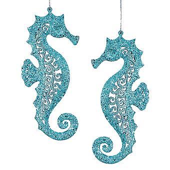 Teal Blue Glittery Coastal Seahorses Tropische kerstornamenten set van 2