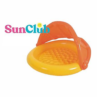 sunclub baby inflatable paddling pool with canopy sunshade orange swimming pool