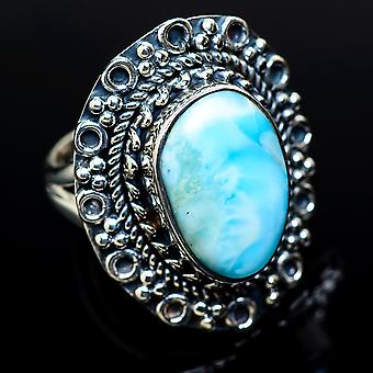 Larimar Ring Size 6.25 (925 Sterling Silver)  - Handmade Boho Vintage Jewelry RING11443