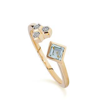 Zeitgenössische blaue Topas & Diamant offenen Ring in 9ct Gelbgold 135R1864029
