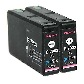 2 Bíbor tintapatron az Epson T7903 (79XL sorozat) helyett Kompatibilis/nem OEM-k a Go festékekből