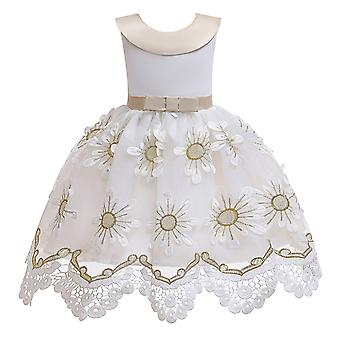 Girls Embroidery Flowers Prom Gown Princess Wedding Dress
