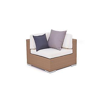 Polyrattan Cube Corner Sofa 90 cm - karamel