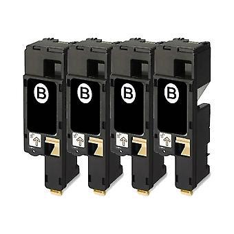 RudyTwos 4 x reemplazo de Dell 593-11016 unidad de Toner negro Compatible con 1250, c 1250, 1350, 1350cn, 1350cnw, 1355, 1355cn, 1355cnw, C1760, C1760nw, C1765, C1765nf, C1765nfw, C17XX