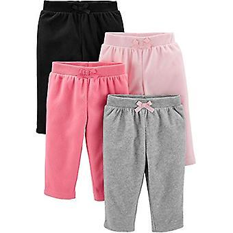 Simple Joys by Carter's Girls' 4-Pack Fleece Pants, Pink/Black/Heather Grey, ...