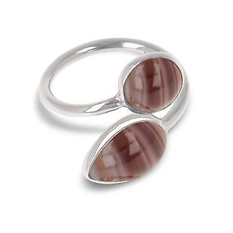 ADEN 925 Sterling Silber braun Achat Ring (id 4076)