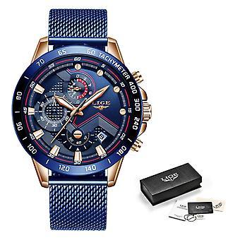 Lige Quartz Watch - Anologue Luxury Movement for Men - Stainless Steel - Blue