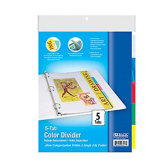3117-24, BAZIC 3-Ring Binder Dividers w/ 5-Insertable Color Tabs