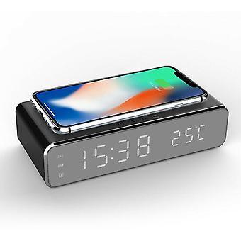 Elektrische led 12/24h wekker met telefoon draadloze oplader tafel digitale thermometer display desktop klok
