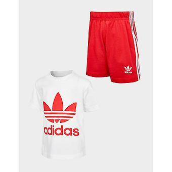 Új adidas Originals Infant Trefoil T-Shirt / Rövidnadrág Set White