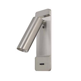 Leds-C4 Lire - LED vegglesing lys sateng Nikkel 179lm 2700K