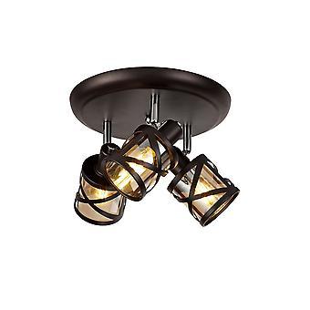 Iluminación Luminosa - 3 Light Round Spotlight E14, Bronce aceitado, Cromo pulido, Ámbar