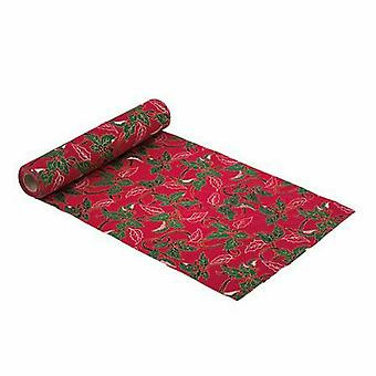 Red Christmas Linen Table Runner with Holly Leaves 3M - Table Decoration